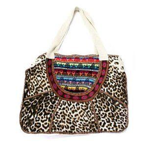 Cecilia Prado Embroidered Leopard Large Boho Bag